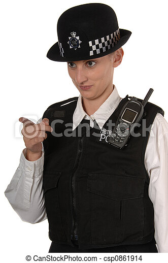 Female UK Police Officer pointing finger - csp0861914