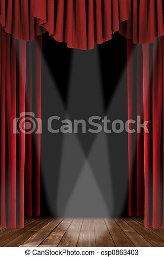 Vertical Drapes With Spotlight - csp0863403