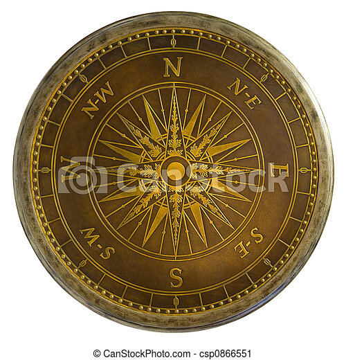 Antique Brass Compass - csp0866551