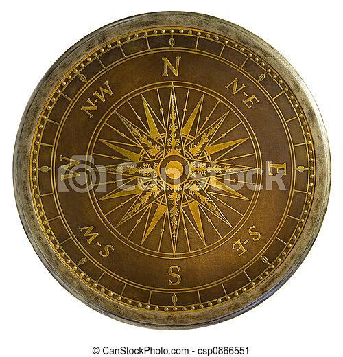 Antique Brass Compass - csp0866551