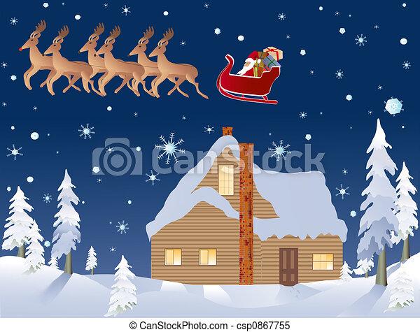 Stock de Ilustrationes de reno, eva, bosque, santa, navidad ...