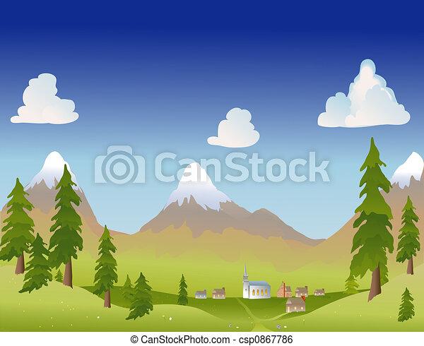 summer mountain village - csp0867786
