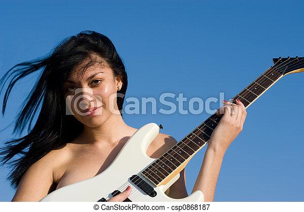 Nude Guitarist - csp0868187