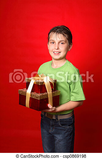 Boy carrying gifts - csp0869198