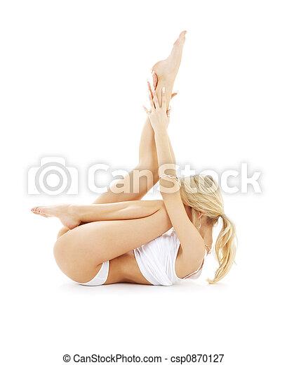 fit blond in white underwear practicing yoga - csp0870127