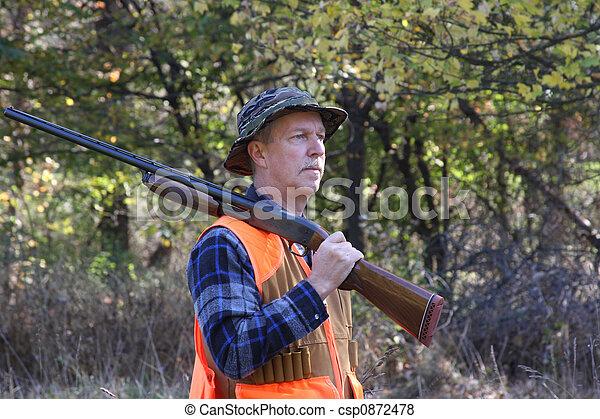 hombre, caza, campo - csp0872478