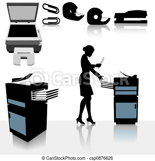 Office Copiers Business Woman - csp0876626