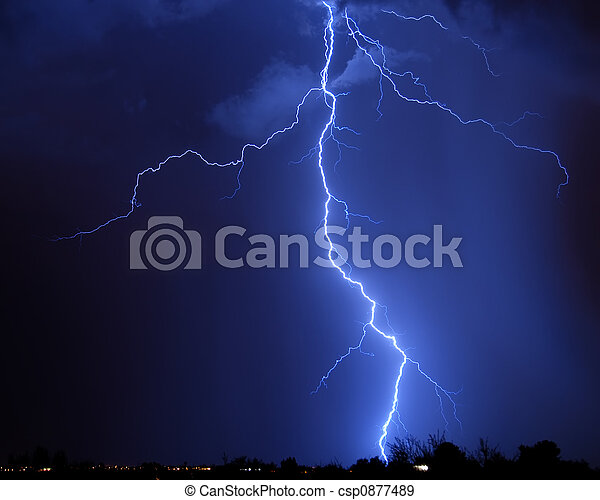 Lightning over the city - csp0877489