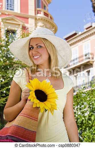 Sunhat and Sunflower - csp0880347