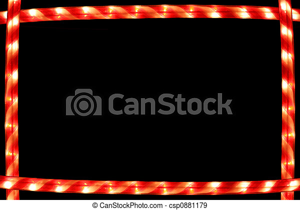 Candy Cane lighted frame on black background - csp0881179