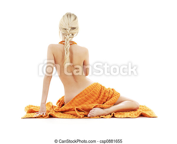 beautiful lady with orange towels - csp0881655