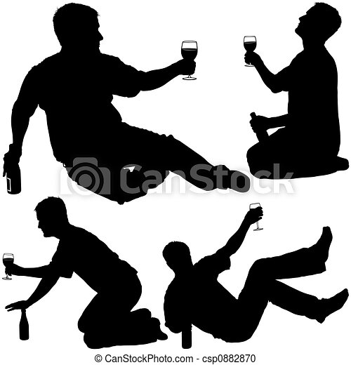 Drinking Wine Silhouette Silhouettes Drinking 4