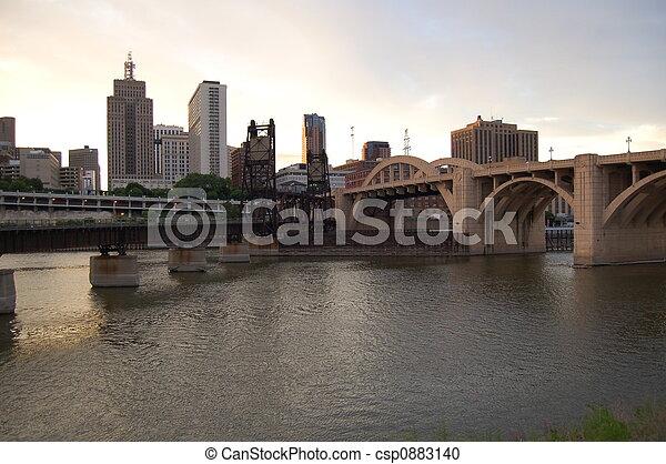 St. Paul Bridges at Dusk - csp0883140