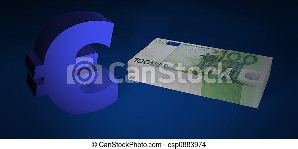 Hundred EURO stack - csp0883974