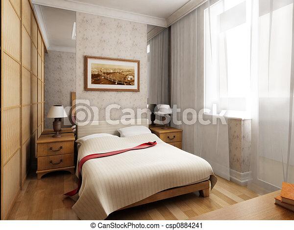 Clipart de rendre 3d chambre coucher 3d rendre de for Chambre a coucher 3d