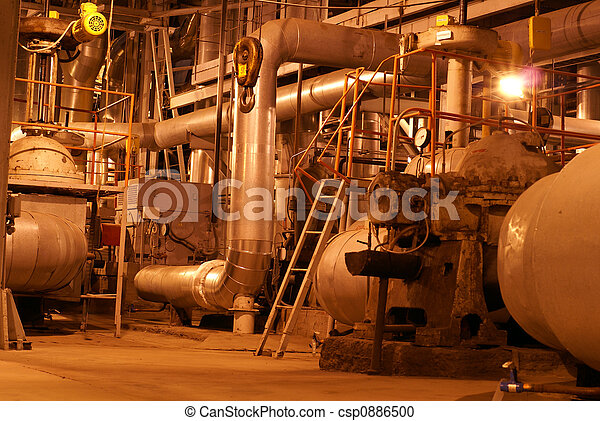 an assortment of different size and shaped pipes at a power plant     - csp0886500