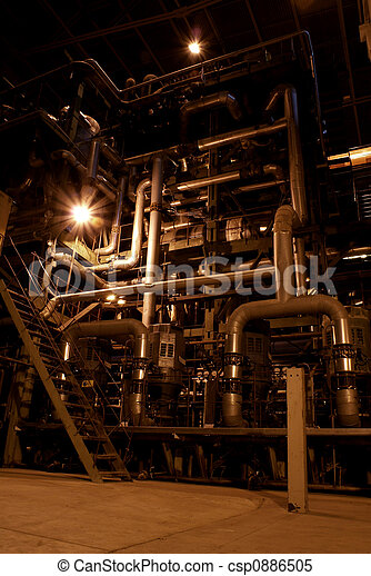 different size and shaped pipes at a power plant - csp0886505