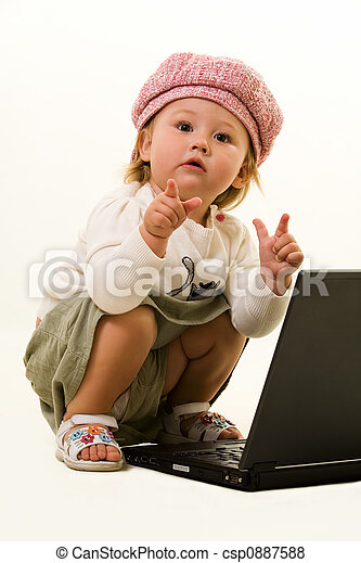 Adorable baby with laptop - csp0887588