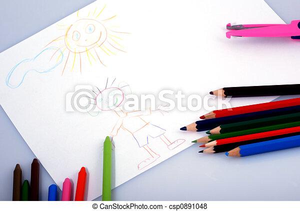 drawings and crayons