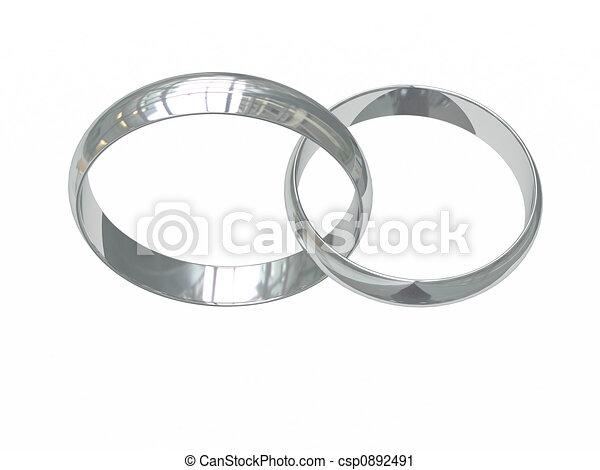 Clipart de platine, Anneaux, deux, ou, mariage, argent - deux, platine ...