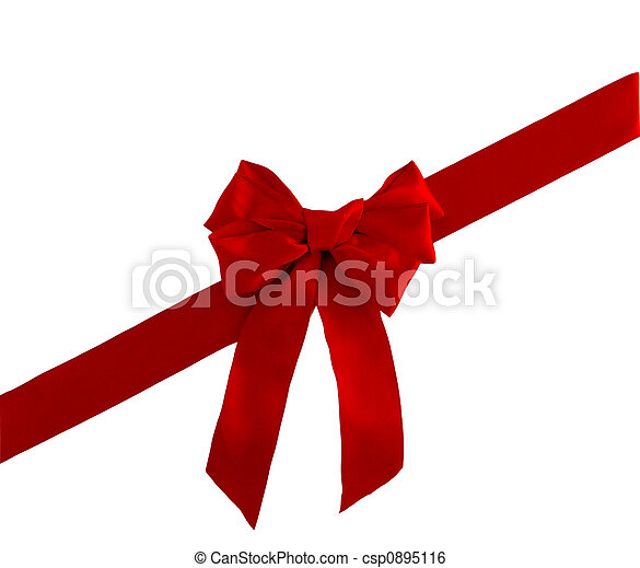 red satin ribbon and bow - csp0895116