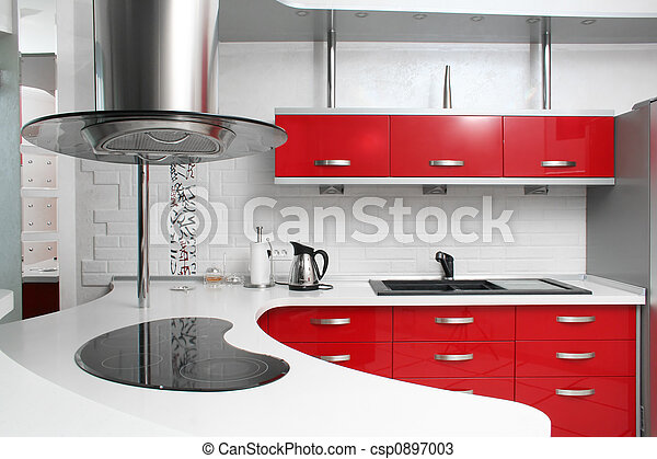 Stock foto 39 s van rood keuken interieur rood keuken met metaal csp0897003 zoek naar - Keuken in rood en wit ...