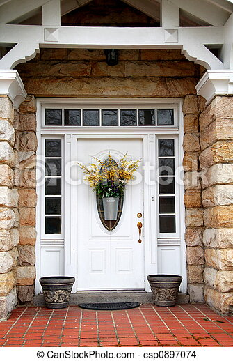 Front Door   White door with transom and side lights on. Front door Images and Stock Photos  92 380 Front door photography