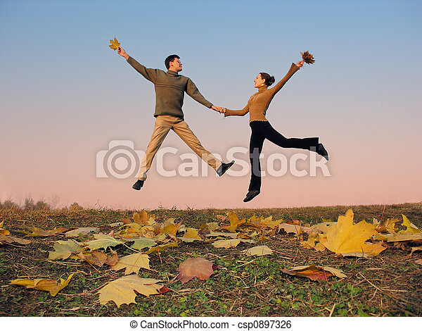 jump couple.  - csp0897326