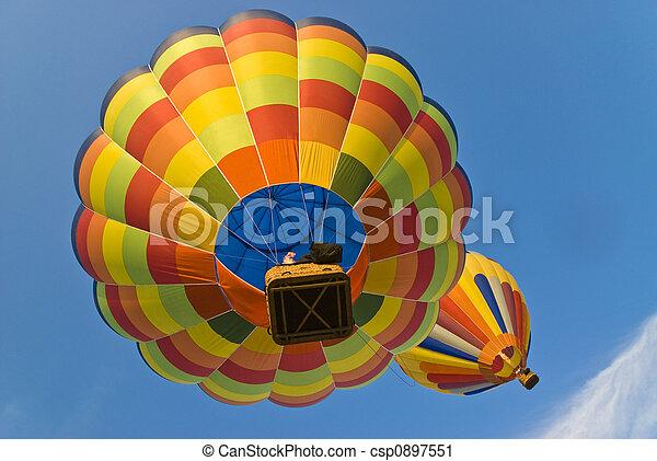 hot air balloons from below - csp0897551