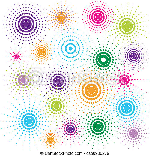 Multicolored retro circles - csp0900279