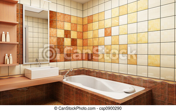 tiled design of the bathroom - csp0900290