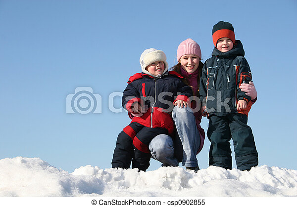 mother with children. winter