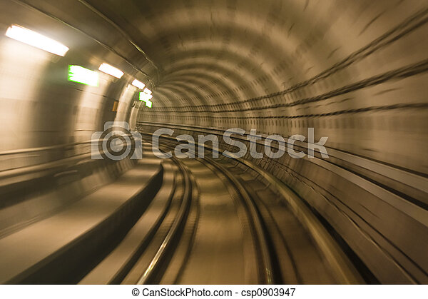 Metro tunnel, blurred motion - csp0903947