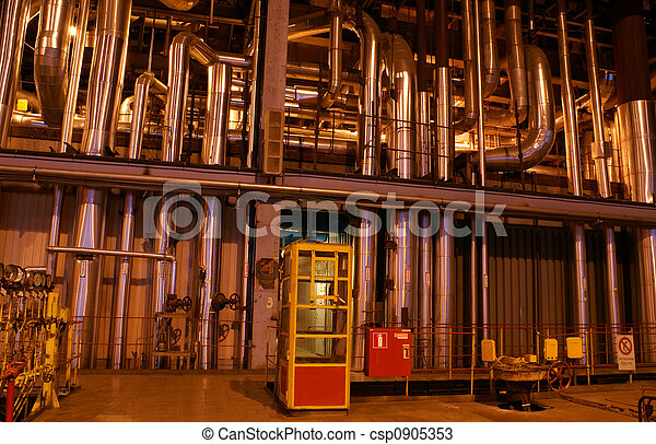 different size and shaped pipes at a power plant - csp0905353