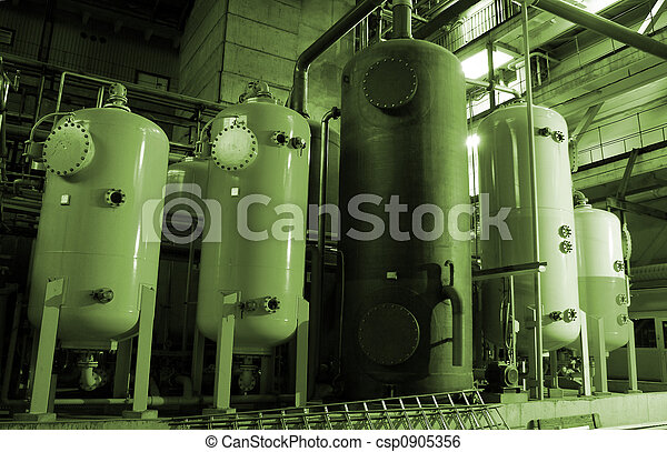 Equipment, cables and piping as found inside of a modern industrial power plant        - csp0905356