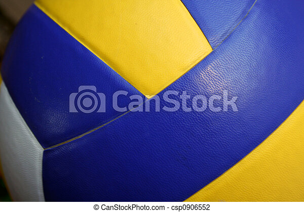 close up of a volley ball (yellow and blue colors)