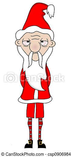 Drawing of Tired Santa - Skinny,tired,broke Santa Claus csp0906984 ...
