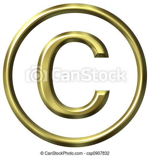 Golden Copyright Symbol - csp0907832