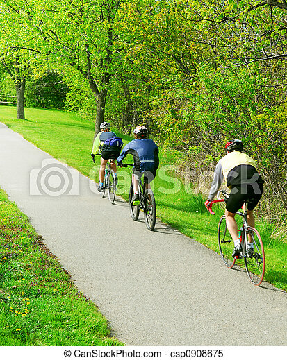 Bicycling in a park - csp0908675
