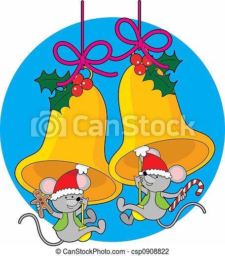 Christmas Bell Mice - csp0908822