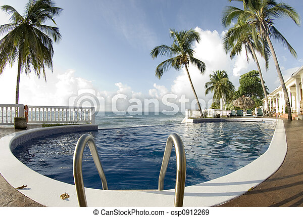 infinity pool with float caribbean sea - csp0912269