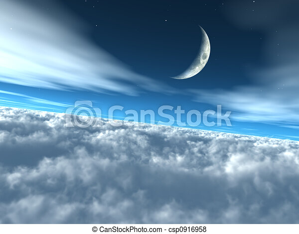 Above the Clouds Heavenly Lunar Sky - csp0916958