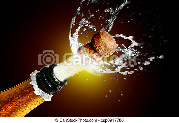 Close up of champagne cork popping - csp0917788