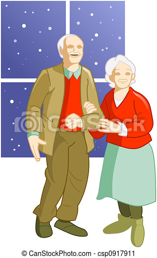Clipart of Elderly couple - old man and woman standing near the ...