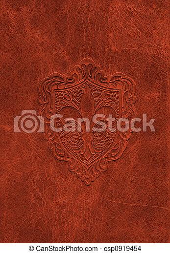 Vintage leather texture with the fleur-de-lis symbol - csp0919454