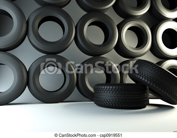 clipart de mur pneu marque nouveau pneus 3d rendre de voiture csp0919551. Black Bedroom Furniture Sets. Home Design Ideas
