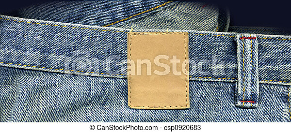 Jeans close up with patch for logo designs - csp0920683
