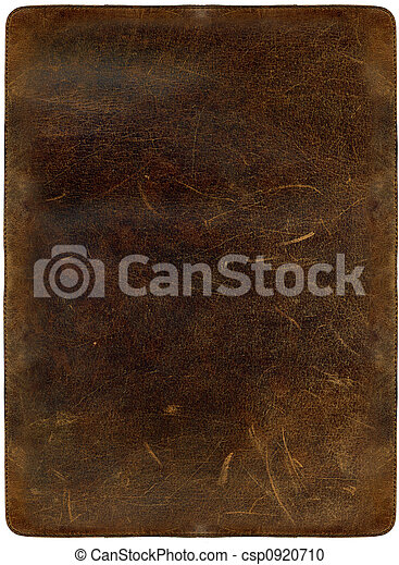 Brown scratched leather texture with stiched edges - csp0920710