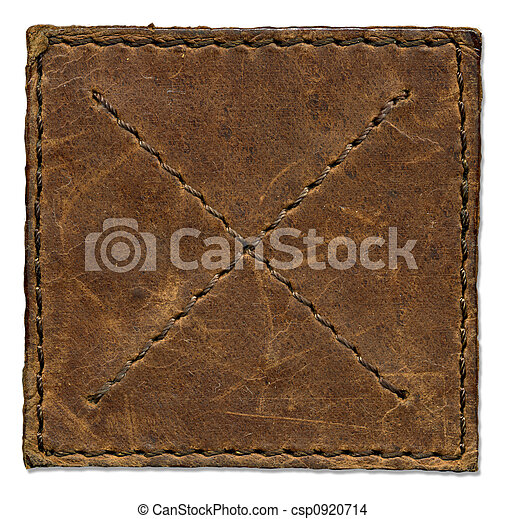 Brown scratched leather patch with stiched edges - csp0920714