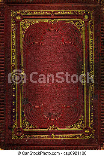 Old red leather texture with gold decorative frame - csp0921100